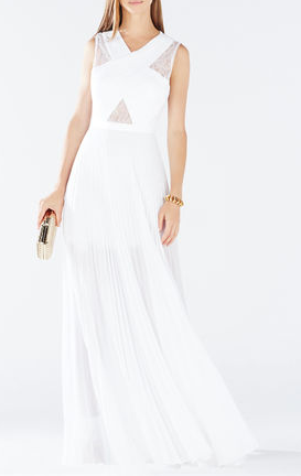 Caia crisscross lace gown plateated
