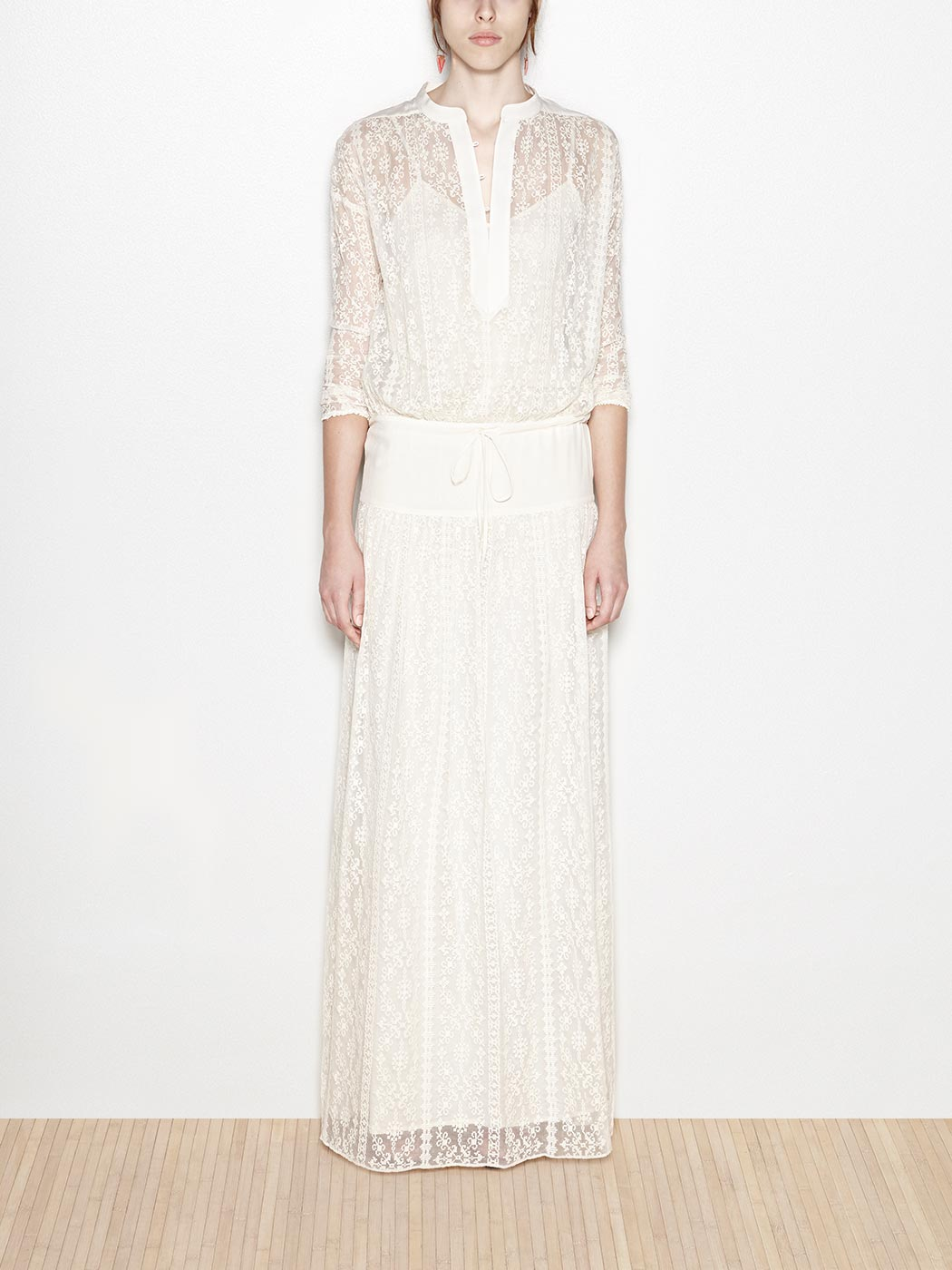 Midi embroidered silk dress